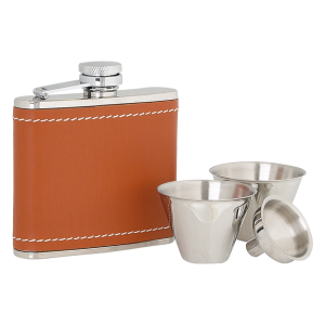Flask Set Tan Leather