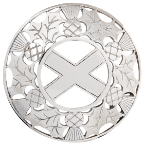 Open Thistle saltire plaid brooch